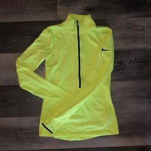 Neon Nike dri fit quarter zip